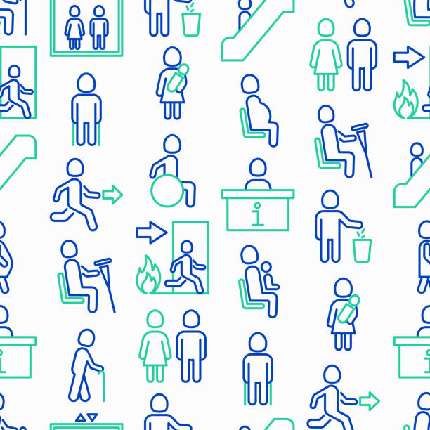 public signs seamless pattern with thin line icons: information stand, fire or emergency exit, use trash can, seats for pregnant women, disabled, elderly people, woman with child. vector illustration. - old man standing background stock illustrations, clip art, cartoons, & icons