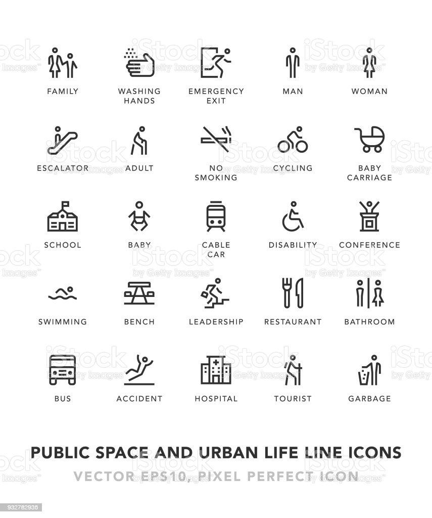 Salle De Bains Espace Public ~ vie urbain et espace publique ligne ic nes cliparts vectoriels et