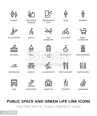 Public Space and Urban life Line Icons Vector EPS 10 File, Pixel Perfect Icons.