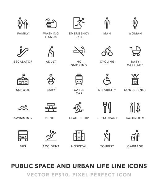 public space and urban life line icons - old man on bike stock illustrations, clip art, cartoons, & icons