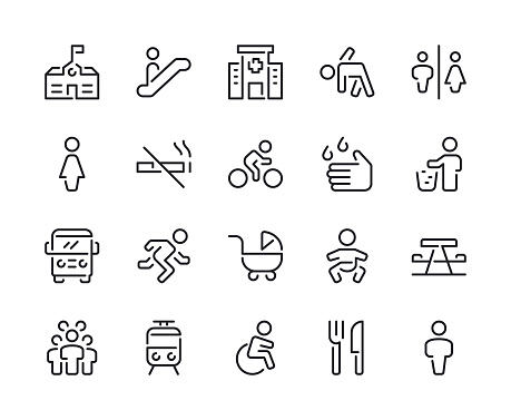 Public Space and Urban life Line Icons