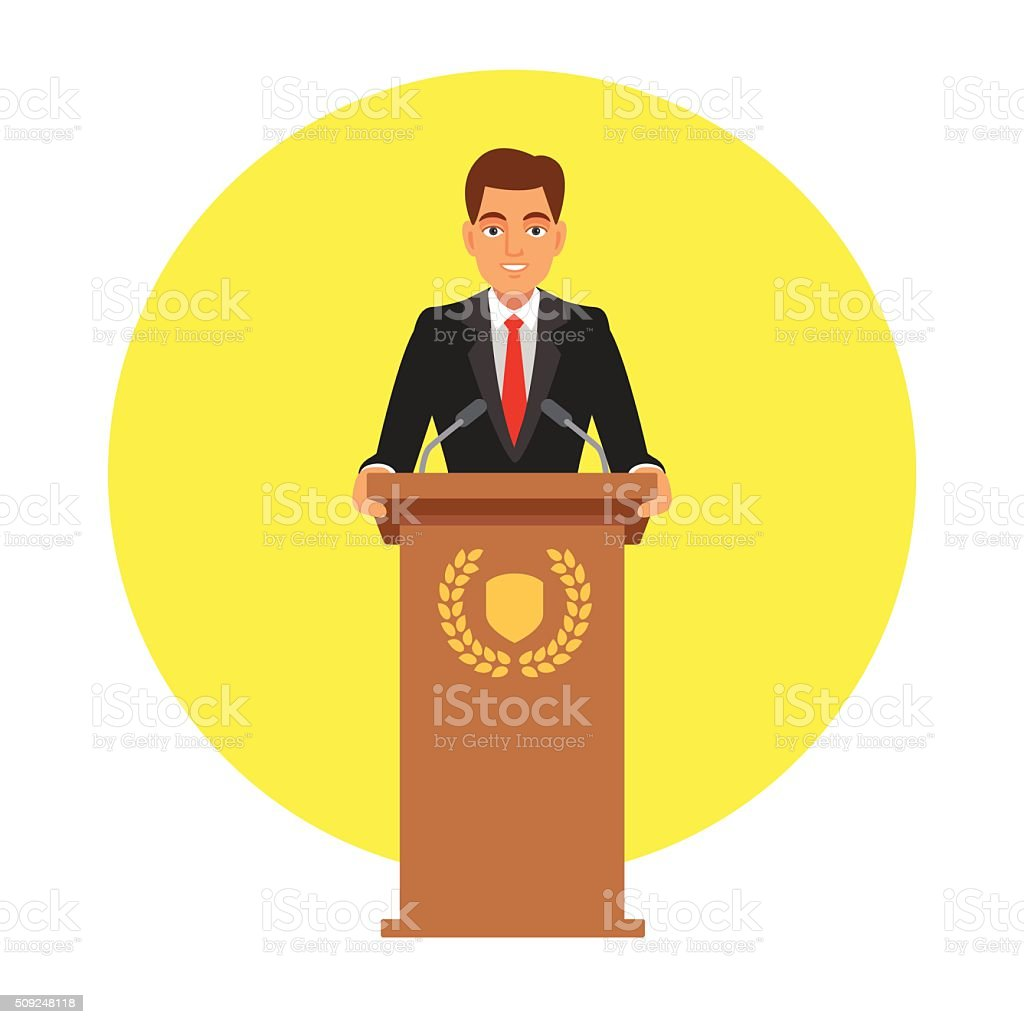 Public speaker speaking to microphones vector art illustration