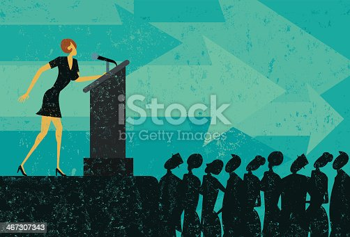 A businesswoman giving a speech to a crowd of people. The businesswoman & podium, crowd, and background are on separately labeled layers.