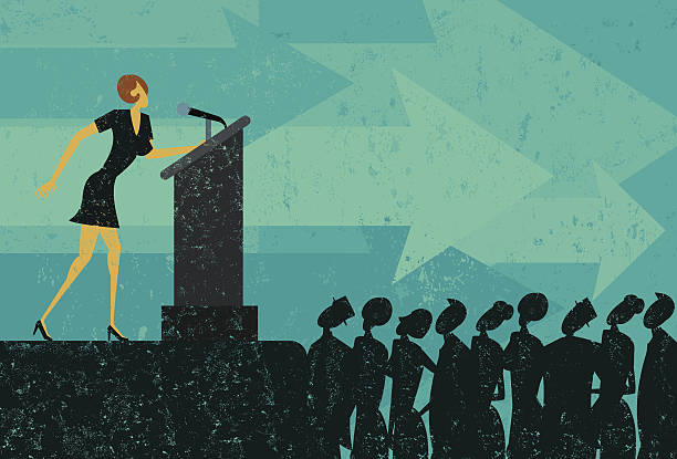 Public Speaker A businesswoman giving a speech to a crowd of people. The businesswoman & podium, crowd, and background are on separately labeled layers. RETROROCKET stock illustrations