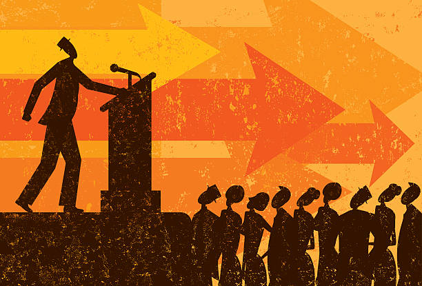 Public Speaker A businessman giving a speech to a crowd of people. RETROROCKET stock illustrations
