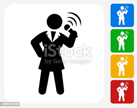 istock Public Speaking Icon Flat Graphic Design 493316130