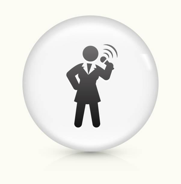 illustrazioni stock, clip art, cartoni animati e icone di tendenza di parlare in pubblico icona su pulsante vettoriale bianco rotondo - organizzatore della festa