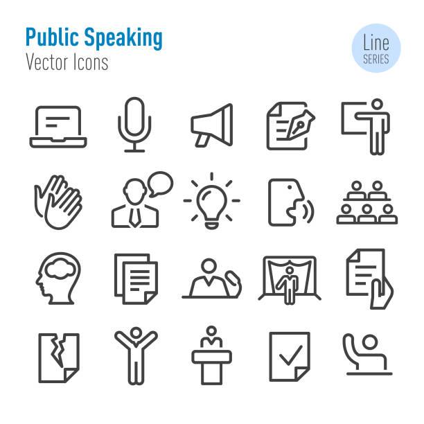 bildbanksillustrationer, clip art samt tecknat material och ikoner med offentliga talande ikoner-vector line series - speaker