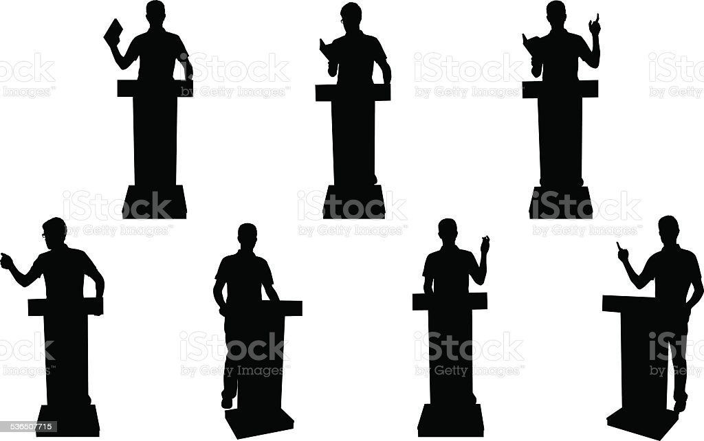 Public speaking silhouettes vector art illustration