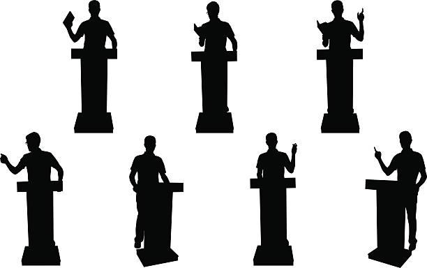Public speaking silhouettes vector art illustration