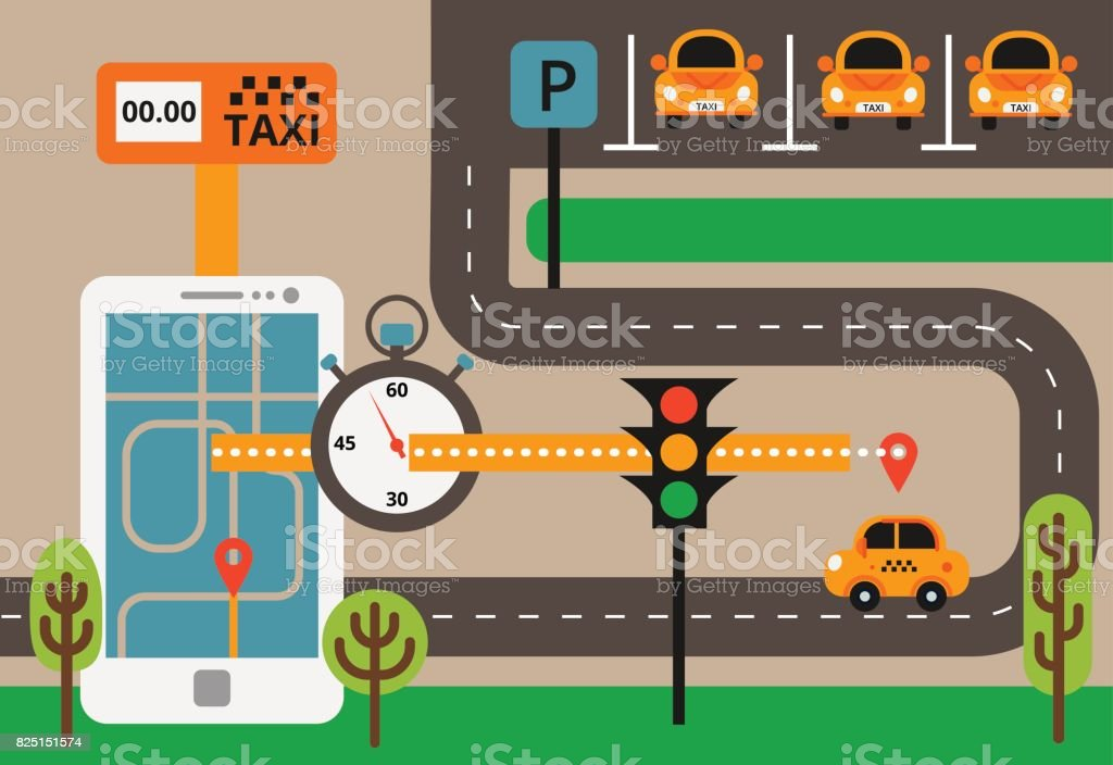 Public taxi on line service, mobile application. Navigation map with yellow taxi and smatrphone. Flat vector app illustration. vector art illustration
