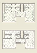 public toilet architectural plan, colored and grayscale