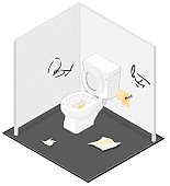 An isometric view of a public toilet.