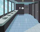 A vector cartoon background of a public restroom