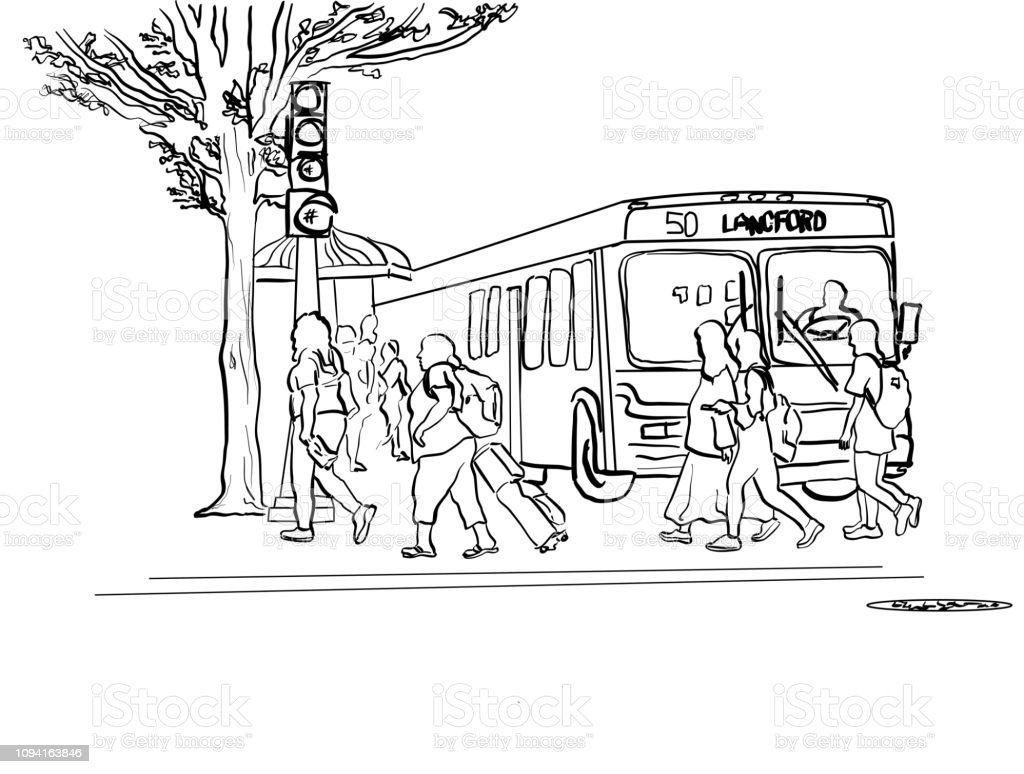 Public Transit And Pedestrians vector art illustration