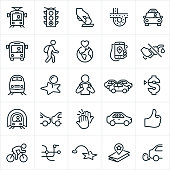 A set of public transportation icons. The icons include a bus, light rail, train, subway, taxi cab and other forms of transportation. They also include a stoplight, bus fare, interstate, rider, customer, environmental conservation, fuel savings, destination, reading, car pooling, thumbs up, street map and other related icons.