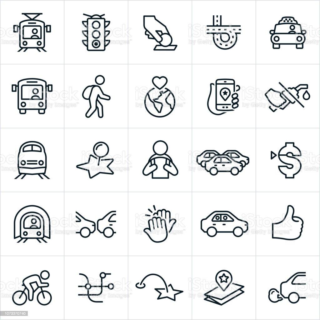 Iconos de transporte público - ilustración de arte vectorial