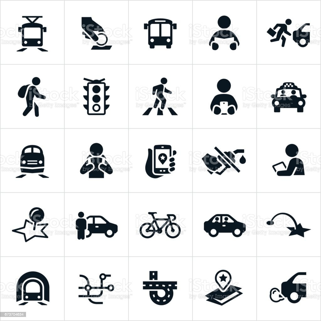 Public Transit Icons vector art illustration