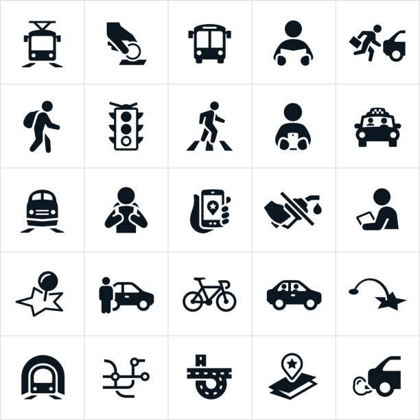 illustrations, cliparts, dessins animés et icônes de icônes de transport en commun - passager