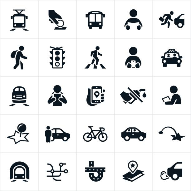 public transit icons - crossing stock illustrations, clip art, cartoons, & icons