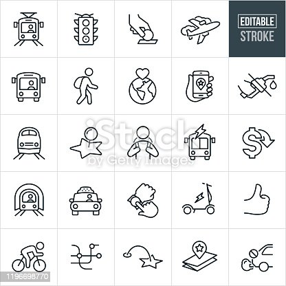 A set of public transit icons that include editable strokes or outlines using the EPS vector file. The icons include light rail, public bus, passenger train, subway, bicycle, electric scooter, stop light, bus toll, crosswalk, rider wearing backpack, electric bus, taxi cab, location marker, map, thumbs up and other related icons.