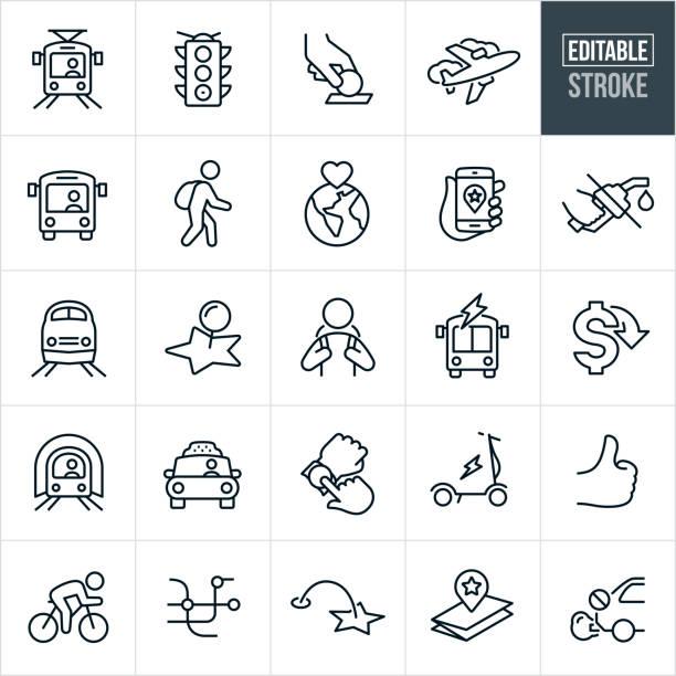 公共交通機関の細い線のアイコン - 編集可能なストローク - 通勤点のイラスト素材/クリップアート素材/マンガ素材/アイコン素材