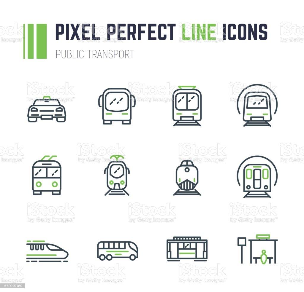 Öffentlichen Verkehrsmitteln 12-Icon-set – Vektorgrafik