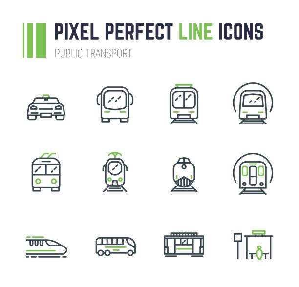 Public transport 12 icon set Set of 12 public transport thin line style icons. Taxi and bus. Electrical transport, tram, subway, train. Public bus stop sign. Speed monorail train and locomotive. Old trolleybus. train vehicle stock illustrations