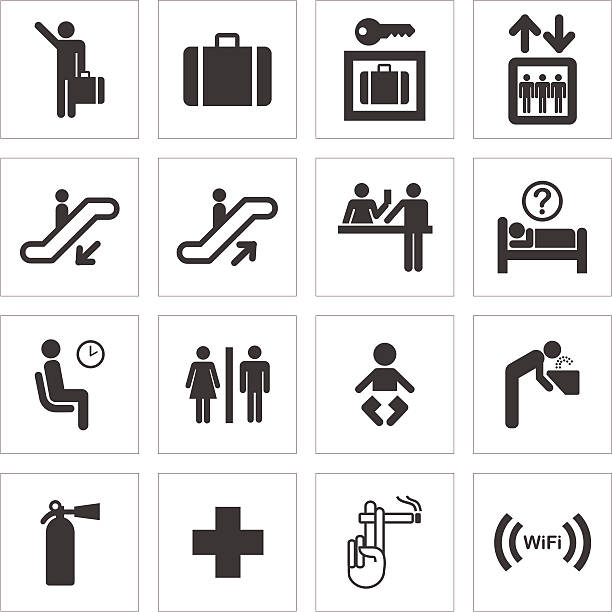 Public Transport And Travel Icons Collection of icons for public transport, travel and facilities. emergency equipment stock illustrations