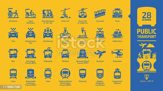 Public transport blue icon set on a yellow background with urban, inter city and international passenger vehicles glyph symbols: cycle & auto rickshaw, air & chair lift, funicular, ferry boat, taxi.