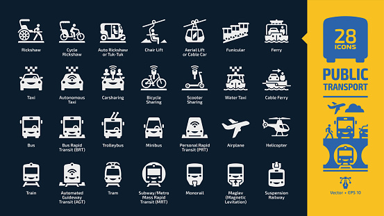 Public transport icon set in dark mode with passenger vehicles glyph symbols: tuk-tuk, cable car, autonomous & water taxi, carsharing, bicycle & scooter sharing, ferry, bus rapid transit (BRT).