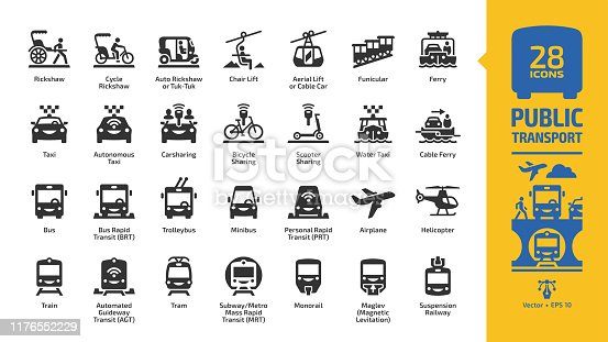 Public transport icon set with urban, inter city & international passenger vehicles glyph symbols: bus, car, train, air plane, ferry boat, bicycle sharing, metro or subway, motor taxi and rickshaw.