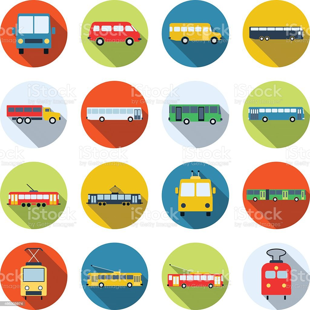 Public transport icons collection vector art illustration