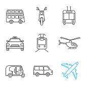 Public transport linear vector icons. Thin line. Double decker bus, scooter, trolleybus, taxi, tram, helicopter, auto rickshaw, minivan, airplane