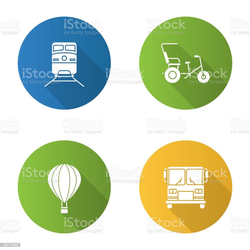 Public transport icons vector art illustration