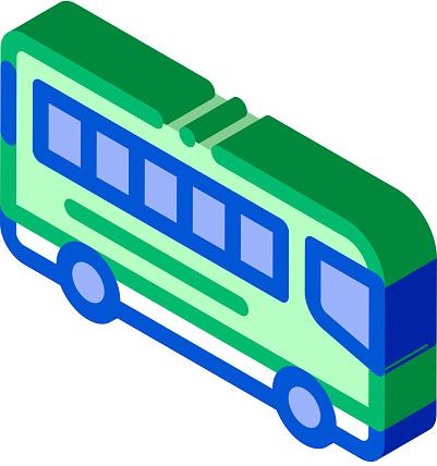Public Transport Inter-city Bus isometric icon vector illustration