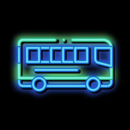 Public Transport Inter-city Bus neon glow icon illustration