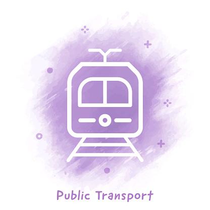 Public Transport Line Icon Watercolor Background