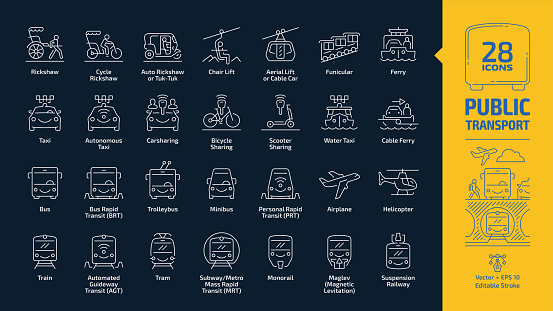 Public transport outline icon set in dark mode with passenger vehicle editable stroke line signs: trolleybus, minibus, personal rapid transit PRT, airplane, helicopter, train, tramway, subway or metro