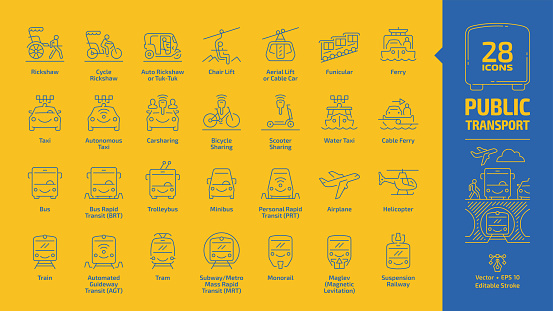 Public transport outline icon set on a yellow background with urban, inter city & international passenger vehicles editable stroke blue line signs: bus, van, car, train, airplane, ferry, bicycle, taxi