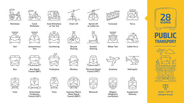 Public transport outline icon set with urban, inter city, international and travel passenger vehicle editable stroke line signs: bus, van, car, train, aircraft, ship, bike, metro, taxi, road & traffic Public transport outline icon set with urban, inter city, international and travel passenger vehicle editable stroke line signs: bus, van, car, train, aircraft, ship, bike, metro, taxi, road & traffic bus rapid transit stock illustrations