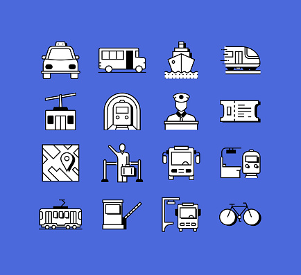 Public Transport Related Icons Vector Collection. Modern Style Symbol Vector Illustration