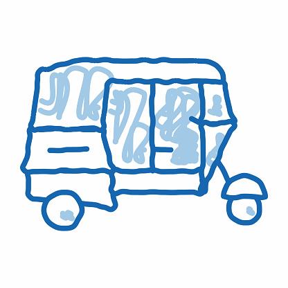 Public Transport Rickshaw doodle icon hand drawn illustration