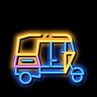 Public Transport Rickshaw neon glow icon illustration