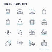 Public transport thin line icons set: train, bus, taxi, ship, ferry, trolleybus, tram, car sharing, bicycle. Front and side view. Modern vector illustration.