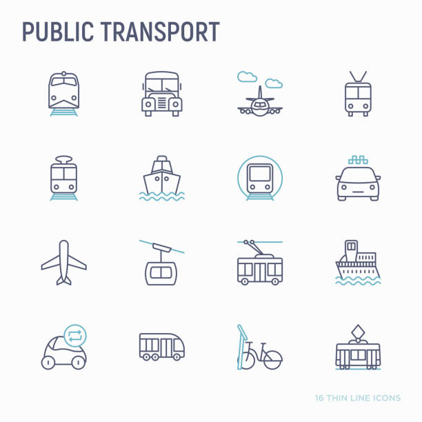 illustrazioni stock, clip art, cartoni animati e icone di tendenza di public transport thin line icons set: train, bus, taxi, ship, ferry, trolleybus, tram, car sharing, bicycle. front and side view. modern vector illustration. - infrastrutture