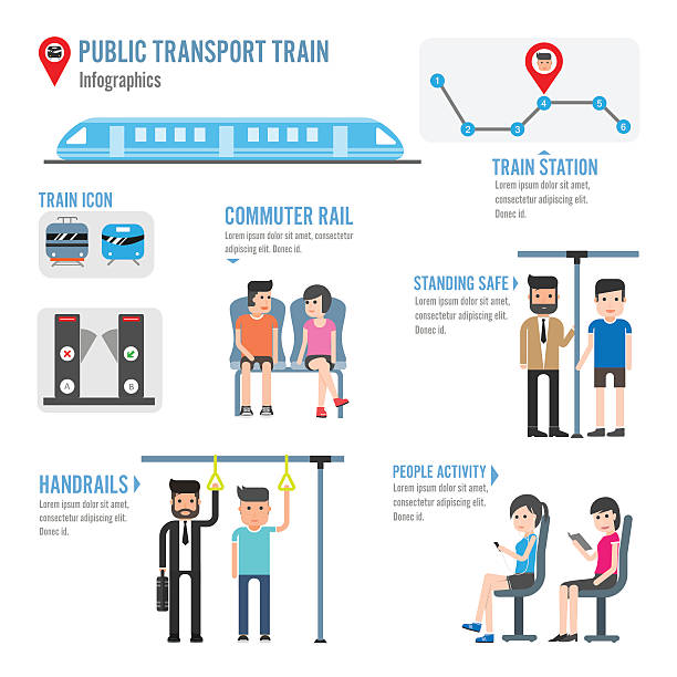 illustrazioni stock, clip art, cartoni animati e icone di tendenza di trasporto pubblico treno infografiche - subway