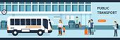 People on bus station. Passengers on train platform. Flat style vector illustration.