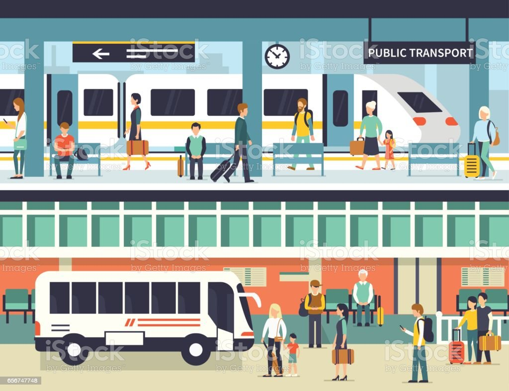 public transport vector art illustration