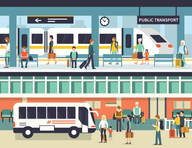 public transport People on railway and bus station. Passengers at bus stop and train platform. Vector concept illustration. Infographic elements. station stock illustrations